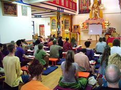 Teachings inside the gompa