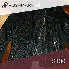 Calvin Klein Textured Leather Jacket Faux leather Beautiful textured detail Gold zipper detail Calvin Klein Jackets & Coats