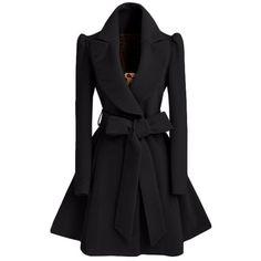 $23.61 Noble Turn-Down Collar Long Sleeve Pure Color Self Tie Belt Women's Coat Dress