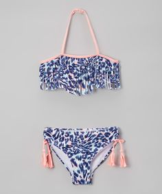 Loving this Jantzen Blue & Pink Into the Wild Leopard Fringe Bikini - Girls on #zulily! #zulilyfinds