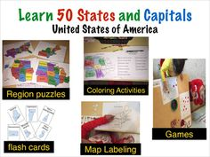 This 53 page geography activity pack helps children prek- 3rd grade and higher to learn all fifty states and capitals by region though fun hands on activities which include: - Region Puzzles - Coloring activities- Color by state and Color by Capitals - State and Capital Bingo - Labeling maps by state and capitals - Fifty U.S state Flash Cards