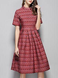 Shop Midi Dresses - Printed A-line Elegant Short Sleeve Midi Dress online. Discover unique designers fashion at StyleWe.com.