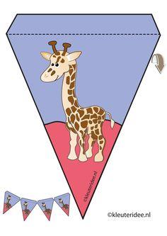 Giraf slinger, thema dierentuin, juf Petra van kleuteridee, giraf guirlande, Preschool zoo theme, free printable. Giraffe Party, Baby Shower Giraffe, Safari Party, Preschool Zoo Theme, Banner Letters, Paper Banners, Bible Crafts, Kids Church, Animal Crafts