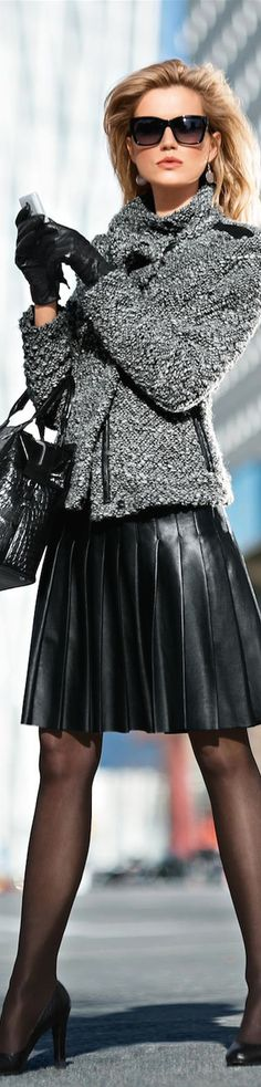 Women's fashion   Madeleine pleated leather skirt with textured grey coat and leather gloves