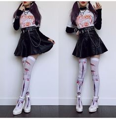 Wearing some super cute spoopy items today from an amazing artist. 👻 The t-shirt and thigh highs are designed & bought from Style Outfits, Edgy Outfits, Pretty Outfits, Cool Outfits, Fashion Outfits, Kawaii Fashion, Lolita Fashion, Cute Fashion, Mode Grunge