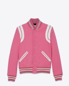 4b1726e79f9 Saint Laurent Teddy Jacket In Rose Virgin Wool And Off White Leather 1590  EUR. Veste