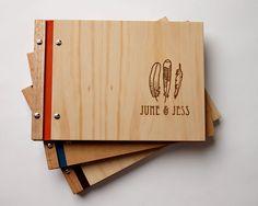 modern wedding guest book - custom engraved wood