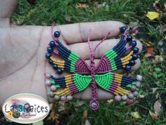 Macrame Necklace, Macrame Jewelry, Butterfly, Etsy, 3c, Menu, Necklaces, Facebook, Watch