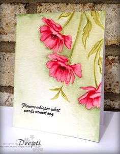 "To make this card, I did no line water coloring. I used my very first stamp set ""Blooming Buds"" for this card."
