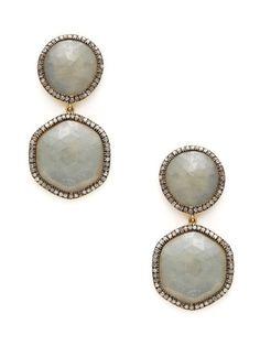 Jennifer Miller Diamond & Sapphire Double Geometric Drop Earrings