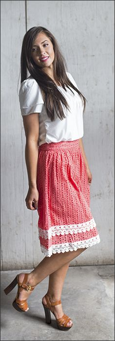 Cotton Eyelet Skirt *CLEARANCE* [MS2011B] - $18.00 : Mikarose Boutique, Reinventing Modesty