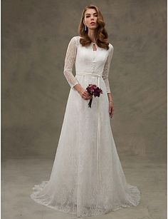 179.99  A-Line Scoop Neck Court Train All Over Lace Made-To-Measure Wedding  Dresses with Appliques   Sash   Ribbon   Button by LAN TING BRIDE® 52883676899d