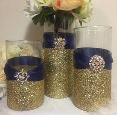 Royal Blue Centerpieces, Gold Wedding Centerpieces, Bridal Shower Centerpieces, Diy Wedding Decorations, Wedding Ideas, Glitter Centerpieces, Wedding Table, Glitter Vases, Gold Glitter