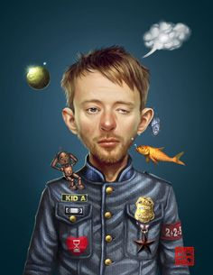 This is my little tribute to Thom Yorke, Radiohead's vocal, a tour of favorite songs and albums that I listen to work, I made this illustration totally Painter with some touches in Photoshop. Larga...