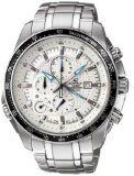 Men's Wrist Watches - Casio Stainless Steel Edifice White Dial Alarm Chronograph Tachymeter * Click on the image for additional details. (This is an Amazon affiliate link)
