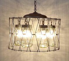 Mason Jar CHANDELIER Light Fixture Basket of Six by LampGoods