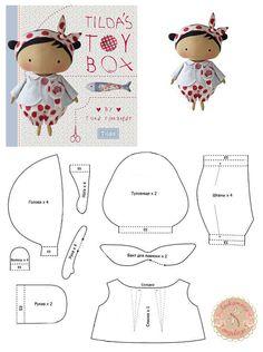 """Выкройка куклы из книги """"Tilda's Toy Box"""""""
