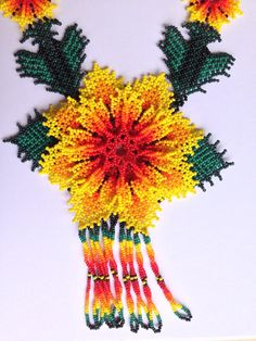 Yellow Huichol Flower Necklace Seed Bead Necklace, Seed Beads, Flower Necklace, Beaded Necklace Patterns, Beaded Jewelry, Jewellery, Mexican Designs, Native American Beadwork, Peyote Patterns