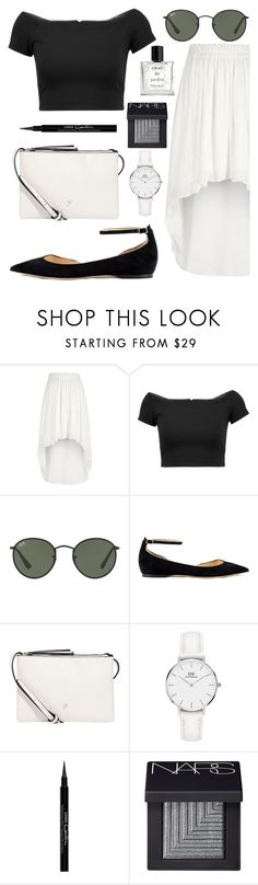 """Untitled #181"" by moderockcity ❤ liked on Polyvore featuring River Island, Alice + Olivia, Ray-Ban, Jimmy Choo, Fiorelli, Daniel Wellington, Givenchy, NARS Cosmetics and Miller Harris"
