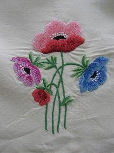 Vintage Antique Pair Crewel Embroidery Poppy & Petunia Linen Aprons-Excellent