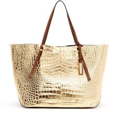Michael Kors Gia Metallic Crocodile-Embossed Leather Tote Bag