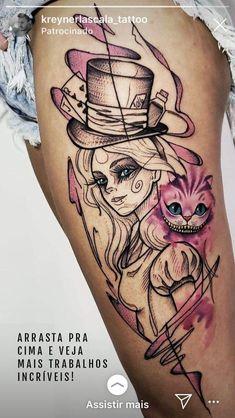 Alice e o gato Badass Tattoos, Body Art Tattoos, Hand Tattoos, Sleeve Tattoos, Cool Tattoos, Side Hip Tattoos, Gypsy Tattoos, Tatoos, Tattoo Design Drawings