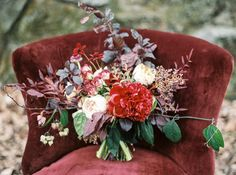 Romantic Red Elopement Bouquet // Photography ~ Taralynn Lawton