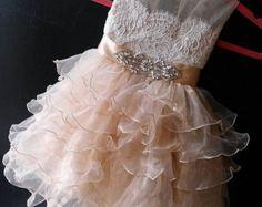 flower girl dress 'Bianca' with rhinestone sash by somsicouture