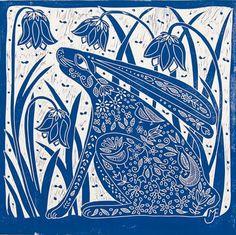 linocut/Hare and Bluebells/blue/original art/printmaking/bluebells/flowers/sprin Linocut Prints, Art Prints, Download Digital, Rabbit Art, Bunny Art, Tampons, Collage Sheet, Collage Art, Digital Collage
