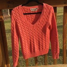 Crochet Tommy sweater Small Tommy Hilfiger vneck sweater in a coral color. In like new condition. Tommy Hilfiger Sweaters V-Necks