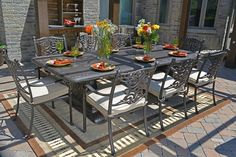 The Serena Collection 8 Person All Welded Cast Aluminum Patio Furniture Dining Set