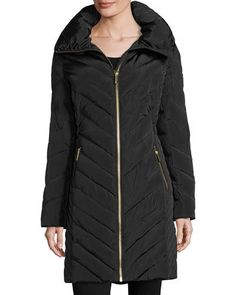 TDJGN MICHAEL Michael Kors Wide-Collar Puffer Coat, Black