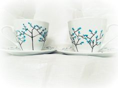 Tree Tea Set. Teacup and Saucer, Tea Lover Gift, Tea Cup Set, Custom Coffee Cup, Painted Tea Cup, Wedding Tea Cup, Birch Tree Art,