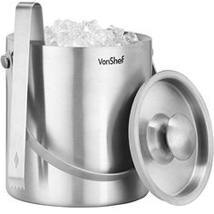 From 14.99 Vonshef Ice Bucket With Lid 2 Litre Double Walled Insulated Stainless Steel Includes Tongs & Carry Handle