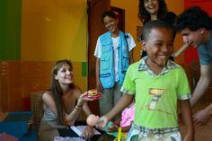 UNHCR Goodwill Ambassador Angelina Jolie visits a daycare centre run by the Women's Federation of Sucumbíos, a province in northern Ecuador. ©UNHCR/J.Björgvinsson