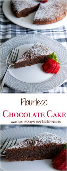 This Flourless Chocolate Cake is decadent and rich, just like a brownie and perfect for those following a gluten free lifestyle. #chocolate #cake #glutenfree #dessert via @CarriesExpKtchn