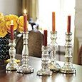 Antiqued Mercury Glass Candlesticks - Assorted Set of 5