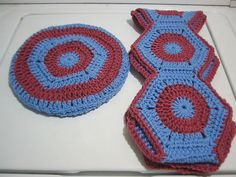 Hand Crocheted Blue and Rose Granny Square Scarf by NortherNights, $5.00