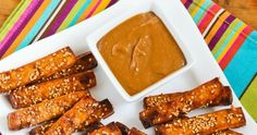 Baked Sesame Tofu Sticks Recipe with Peanut Butter, Tahini, and Ginger Sauce