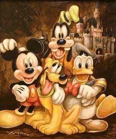 Mickey, Pluto, Donald, Goofy