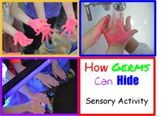How Germs Can Hide Sensory Activity: A great activity for preschoolers to learn how germs can hide and the importance of washing your hands.