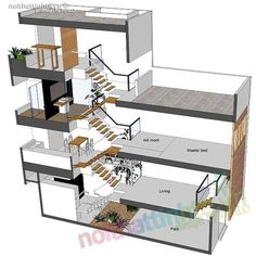 Thiết kế nhà ống nhỏ đẹp 33m2 07 Narrow House Designs, Modern Small House Design, Modern Minimalist House, Narrow Lot House Plans, House Front Design, Tiny House Design, House Layout Plans, House Layouts, Casa Loft