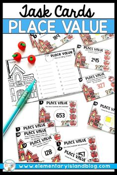 These Place Value Task Cards for 2nd Grade are a fun, interactive way to practice place value skills in first & third grade classrooms. These cards help students master finding the expanded form of a number, identifying how many hundreds, tens, & ones are in a number, use base ten blocks to make the number, & choose the correct number given base ten blocks. Great for whole class, independent work, 1st grade mini lessons, second grade small groups, or 3rd grade math centers. #Math #PlaceValue