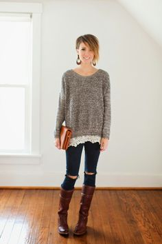 Lace trimmed sweater, black destroyed denim and tall boots Sexy Outfits, Cute Outfits, Casual Outfits, Nickel And Suede, Winter Fashion Casual, Winter Style, Winter Outfits, Lace Sweater, Weekend Wear