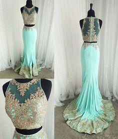 Gold lace appliqued mint prom dress