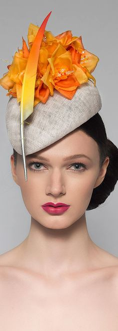 "Orange Yellow Silver Beret Headpiece ""Soph"" Silk Flower + Feather Hat for the Races Royal Ascot Hati"