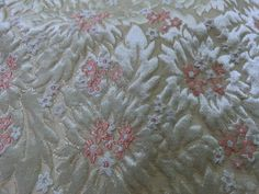 Brocade Upholster Drapery Jacquard Fabric Gold/Silver Ivory Floral Scrap 1.7 yrd