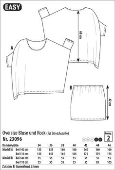 Oversize Bluse und Rock - 23096 - Stoff & Stil. could be really interesting in a plain drapy fabric