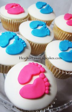 I have these feet cookie cutters  could do these? @Jeanette Moran  Baby Feet, Gender Reveal party cupcakes
