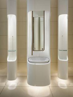 Public Bathrooms, Modern Bathrooms, Toilette Design, Washroom Design, Pacific Place, Public Space Design, Bathroom Toilets, Interior Design Living Room, Rest Room